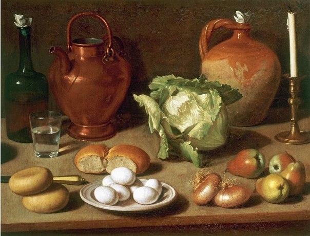 Натюрморт с яйцами, капустой и подсвечником. Между 1740 и 1806 гг. Холст, масло. Карло Маджини (1720–1806), итальянскиЙ живописец
