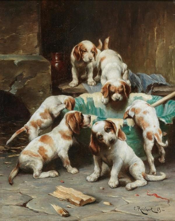 Пир щенков бигля, 1889. Карл Райхерт (1836-1918), австрийский художник