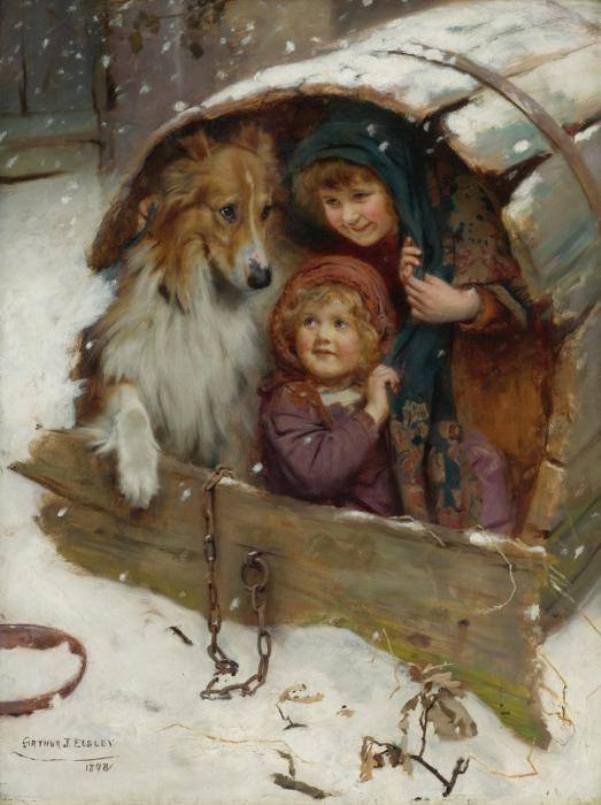 Под крышей с колли. Холст, масло. Артур Джон Элсли (1860-1952), британский художник