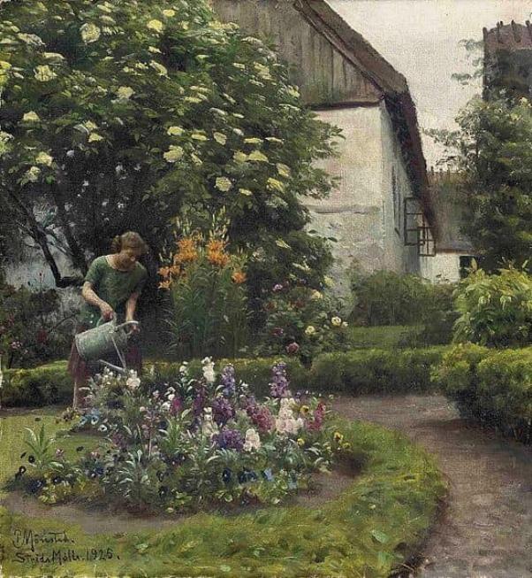 Полив сада, 1925. Петер Мёрк Мёнстед (1859-1941), датский живописец