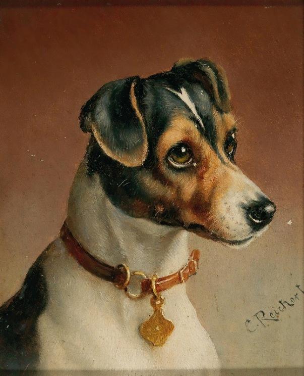 Портрет джек-рассел-терьера. Карл Райхерт ( 1836-1918), австрийский художник