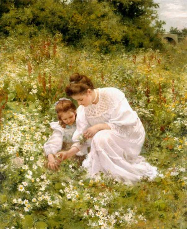 При сборе ромашек. Герман Сигер (1857-1945), немецкий художник