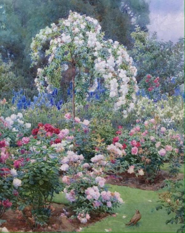 Розовый сад, Итонский колледж Беатрис Эмма Парсонс (1870-1955), британская художница