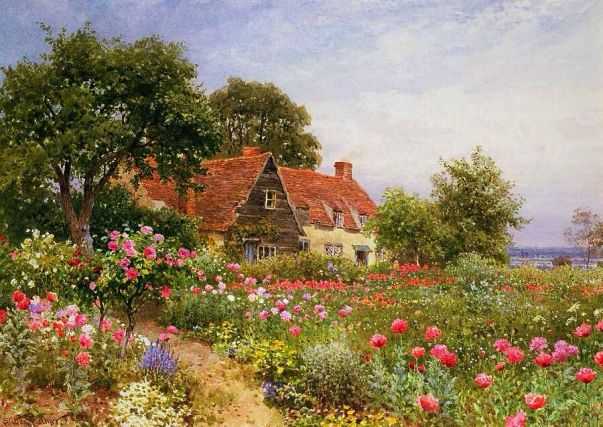 Сад у дома. Гарольд Саттон Палмер (1854-1933), английский акварельный пейзажист
