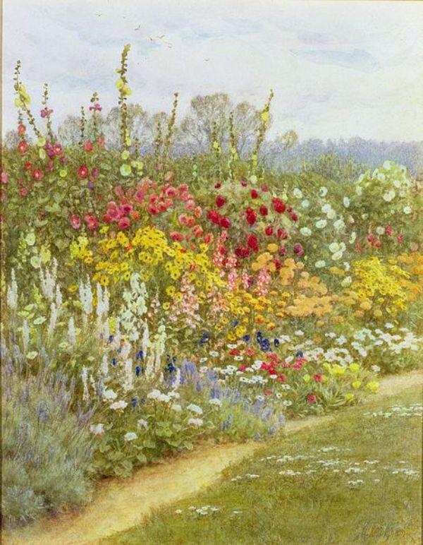 Травяной бордюр. Хелен Аллингем (1848-1926), английский илюстратор и художник-акварелист викторианской эпохи.