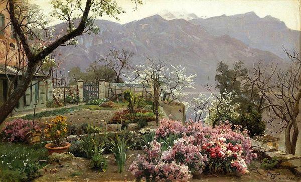 Цветочный сад в Белладжио. Петер Мёрк Мёнстед (дат. Peder Mørk Mønsted; 1859-1941), известный датский художник-реалист, признанный мастер пейзажа, представитель «Золотого века» датской живописи.