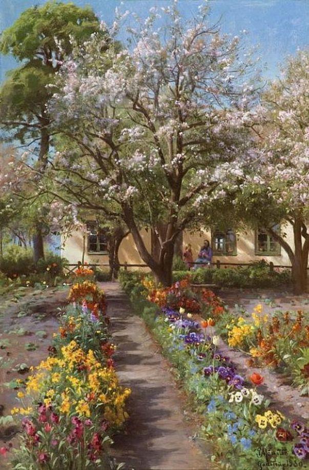 Цветущий сад весной. Петер Мёрк Мёнстед (дат. Peder Mørk Mønsted; 1859-1941), известный датский художник-реалист, признанный мастер пейзажа, представитель «Золотого века» датской живописи.
