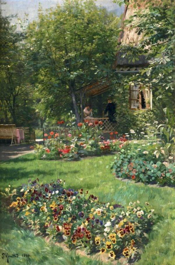 В саду, 1900. Петер Мёрк Мёнстед (1859-1941), датский живописец