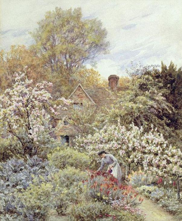 В саду весной. Хелен Аллингем (1848-1926), английский илюстратор и художник-акварелист викторианской эпохи.