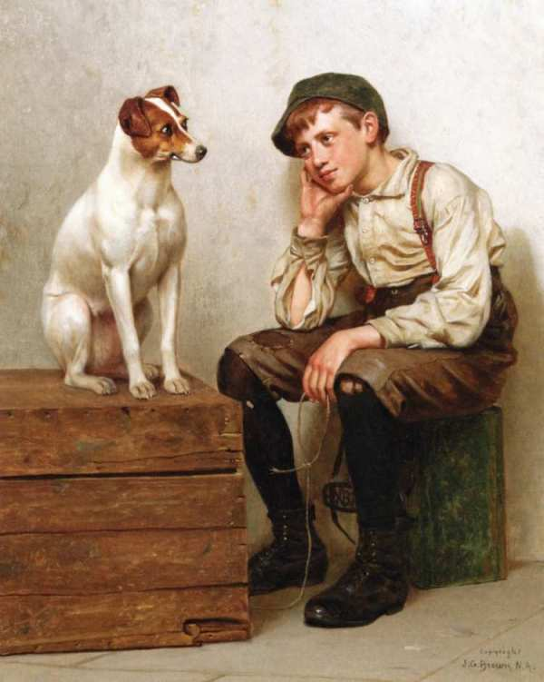 Взаимное восхищение, 1898. Джон Джордж Браун (1831-1913), был гражданином Великобритании и американским художником, специализирующимся на жанровых сценах.