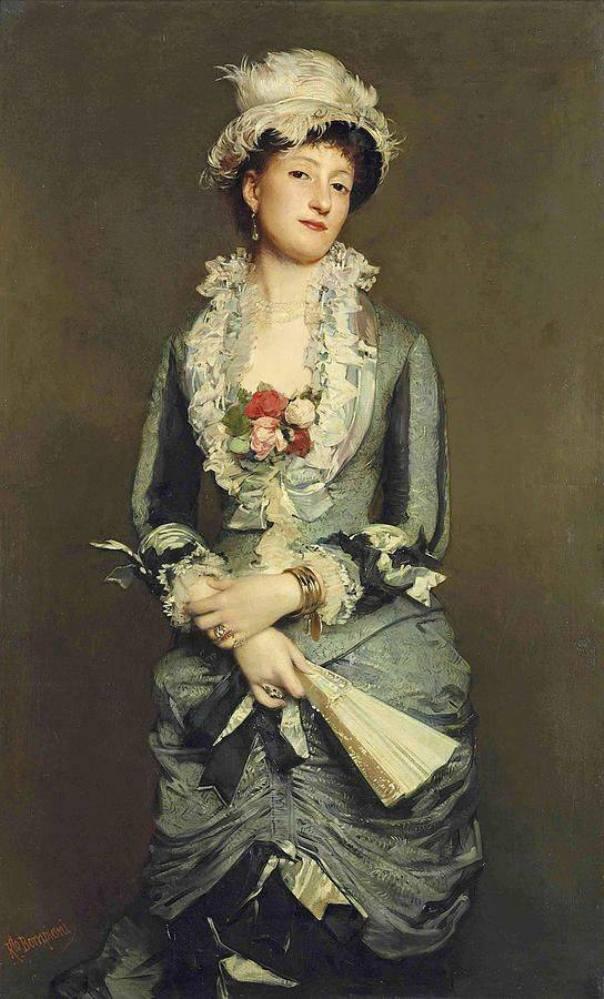 Дама с веером. Холст, масло. Роберто Бомпьяни (1821-1908), итальянский художник