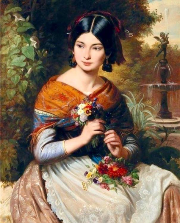 Девушка с цветами. Йожеф Борсос (1821-1883), венгерский художник