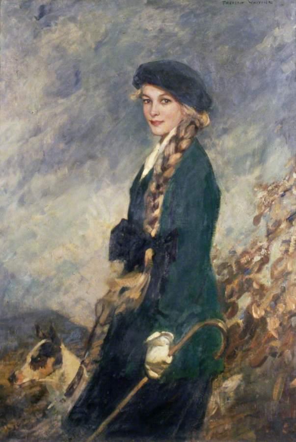 Девушка в зеленом джерси. Фредерик Уайтинг (1874-1962), английский художник.