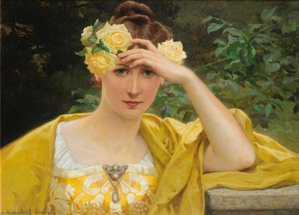 Девушка в желтом. Элизабет Сонрель (1874–1953), французская художница-символистка