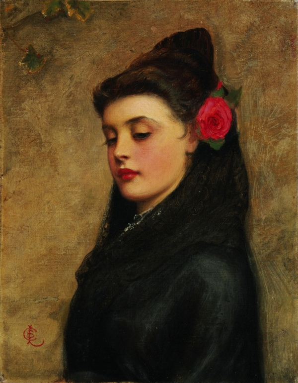 Испанcкая девушка. Чарльз Сайлем Лиддердейл (англ. Charles Sillem Lidderdale, 1830, Санкт-Петербург, Российская империя — 1895, Лондон), английский жанровый художник, портретист.