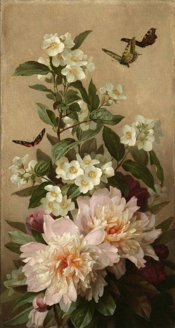 Натюрморт с пионами, жасмином и бабочками. Поль де Лонгпре (1855-1911), французский художник