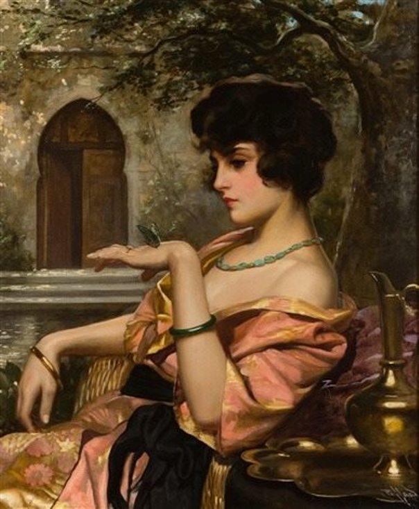 Османская красавица с бабочкой. Холст, масло. Гарольд Пиффард (англ., 1867–1938)
