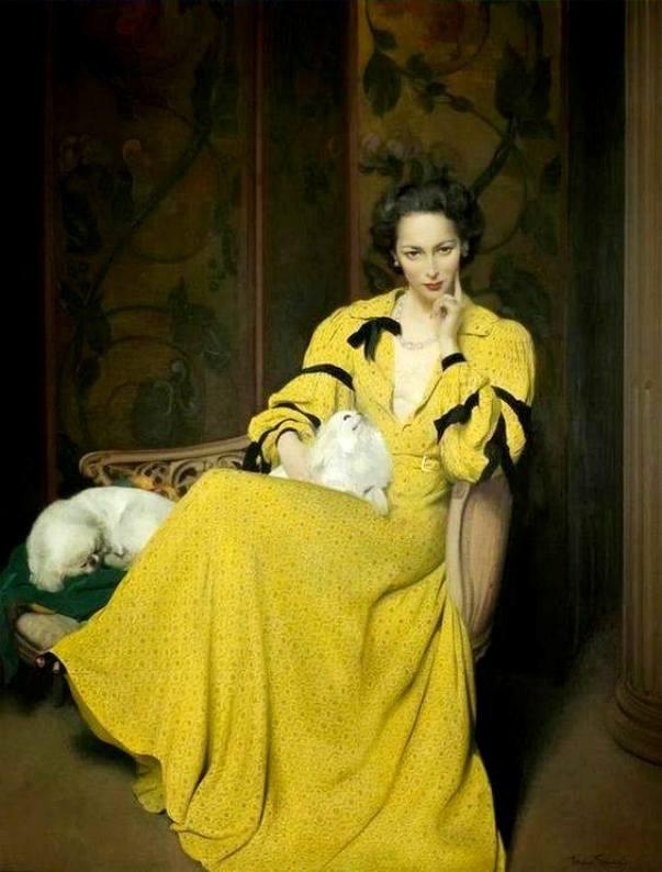Паулина в жёлтом платье, 1944. Герберт Джеймс Ганн (1893-1964), шотландский художник.