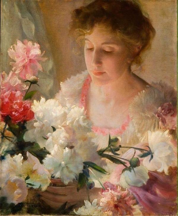 Пионы и роза (1903). Чарльз Кортни Каран (1861-1942), американский художник