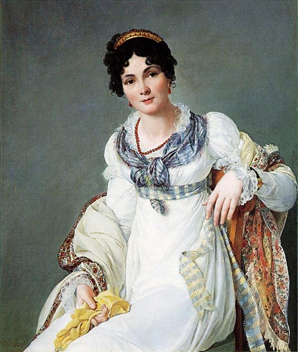 Портрет дамы, сидящей в белом платье с шалью пейсли и перчаткой в руке. Франсуа Анри Мулар (1769-1850), французский художник
