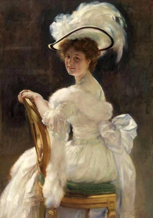 Портрет мисс Жермейн Ле Блон, 1908. Герман Ричир (1866-1942), бельгийский художник