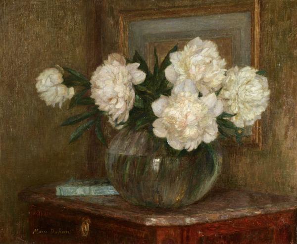 Пионы в прозрачной вазе.Мари Дюэм (1871-1918), французская художница. Музей Орсе, Париж