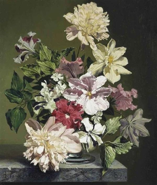 Симфония в розовом и белом: клематисы, пионы и другие цветы. Беннетт Оутс (1928-2009), англйский мастер натюрморта