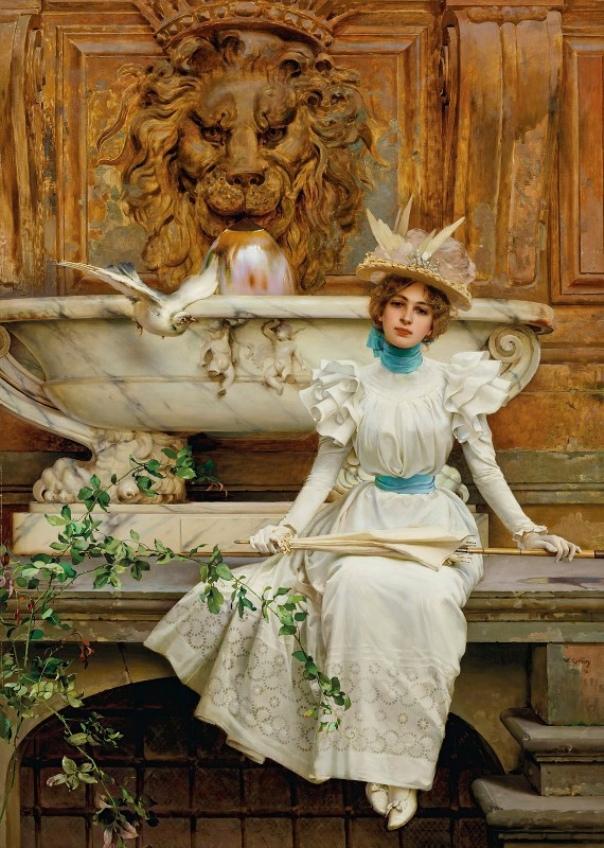 У фонтана. Витторио Маттео Коркос (1859-1933), итальянский художник, посвятивший своё творчество женским портретам и сценам из повседневной жизни горожан.