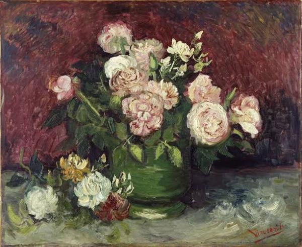 Ваза с пионами и розами, 1886. Винсент Виллем Ван Гог (нидерл. Vincent Willem van Gogh, 1853-1890) нидерландский художник-постимпрессионист