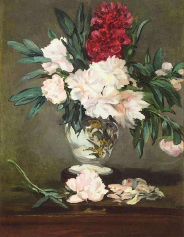 Ваза с пионами на пьедестале, 1864 . Холст, масло. 93.3 x 70 см Эдуард Мане (фр. Édouard Manet; 1832-1883, Париж), французский живописец, гравёр, один из родоначальников импрессионизма.
