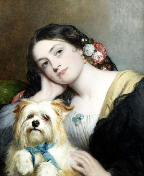 Ее любимый питомец. Чарльз Бакстер (1809-1879), английский портретист, особенно известный своими портретами хорошеньких молодых женщин.