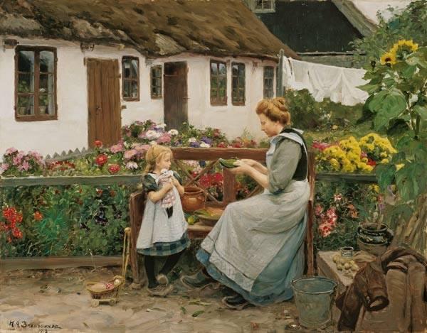 На садовой скамейке, 1913. Холст, масло (68 x 87 cм). Ханс Андерсен Брендекильде (1857-1942 ), датский художник. Частная коллекция