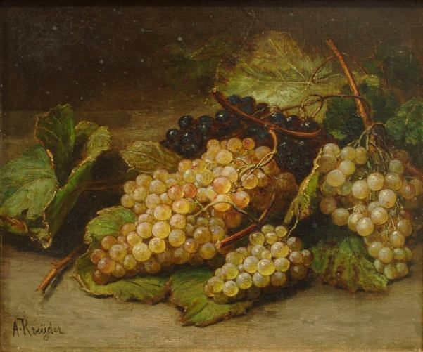 Натюрморт с виноградом. Холст, масло. Алексис Джозеф Крейдер (1839-1912), французский художник