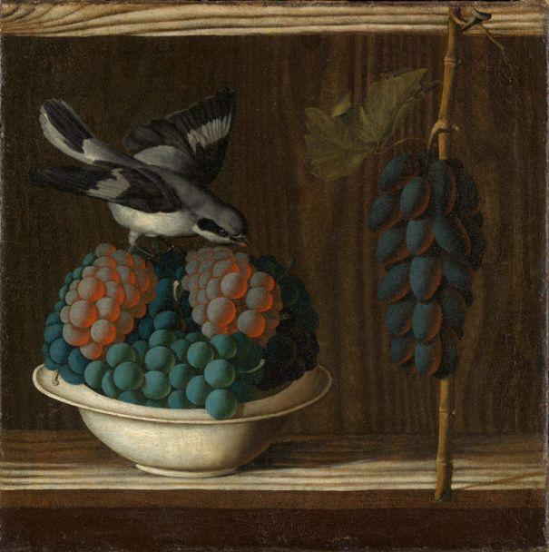 Натюрморт с виноградом и птицей, ок. 1500-10. Антонио Леонелли (1443-1525), итальянский художник