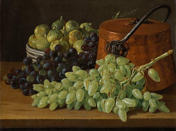 Натюрморт с виноградом, инжиром и медным чайником, 1770. Луис Мелндес (1716, Неаполь — 1780, Мадрид), испанский художник, продолжатель лучших традиций мастеров испанского натюрморта.