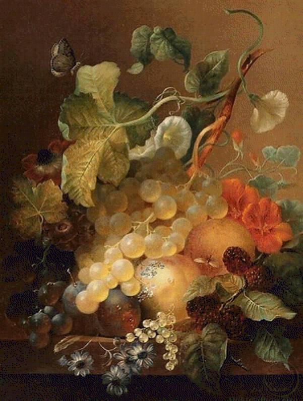 Натюрморт с виноградом, сливами, персиками и бойзеновыми ягодами. Ян ван дер Ваарден (1811-1872), голландский художник