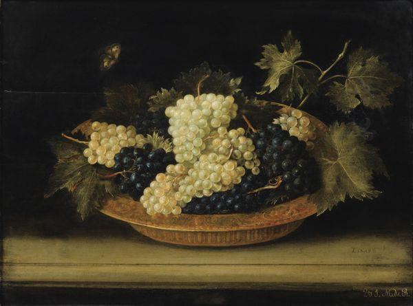 Виноградная чаша на антаблементе, 1631. Жак Линар (фр. Jacques Linard; 1597, Труа — 1645, Париж), французский художник эпохи барокко, мастер натюрморта.