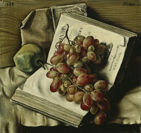 Яблоко, две книги и виноград, 1929. Франсуа Барро