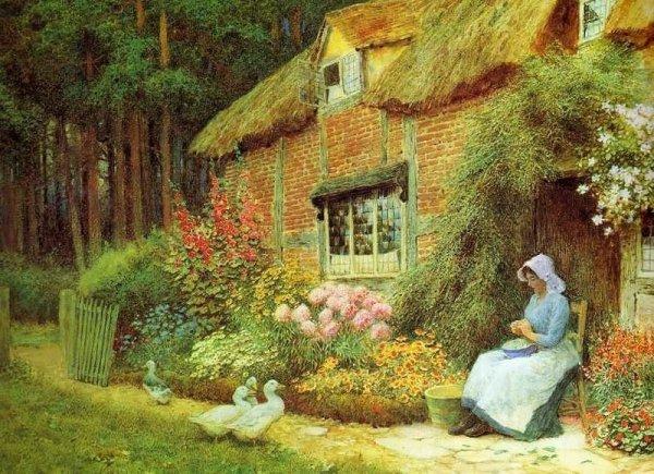 Женщина с утками возле коттеджа. Артур Клод Страчан