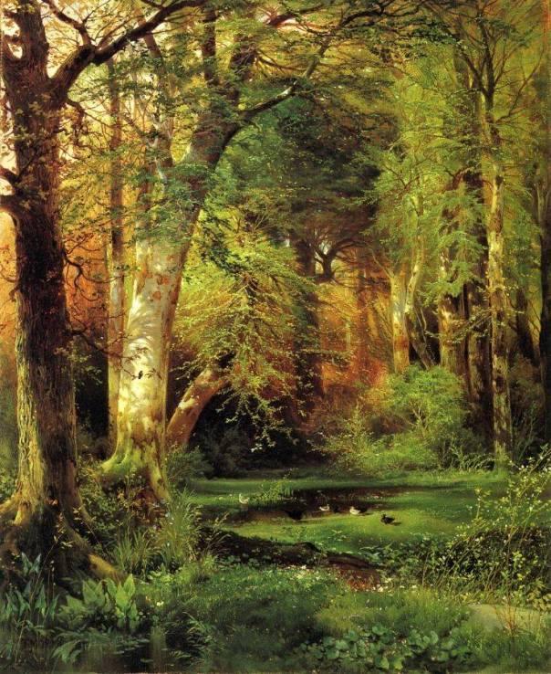 Лесной пейзаж. Холст, масло. Томас Моран (1837- 1926), американский художник