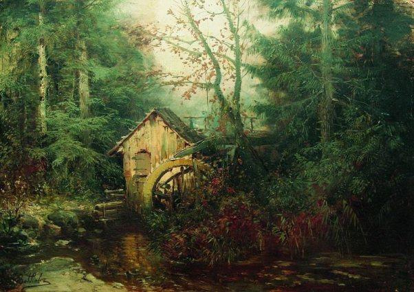 Лесной пейзаж с водяной мельницей. 1870-е. Ефим Волков
