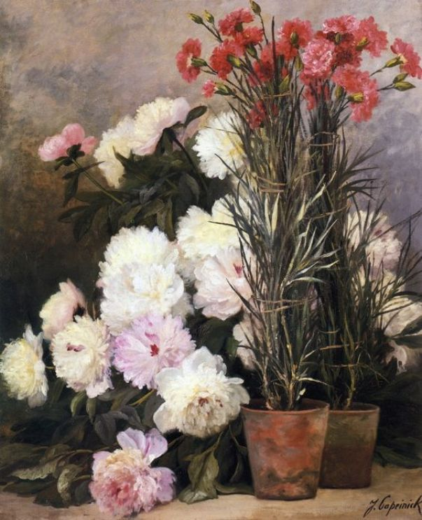 Пионы и красные гвоздики. Жан Капейник (Jean Capeinick, 1838-1890), бельгийский художник