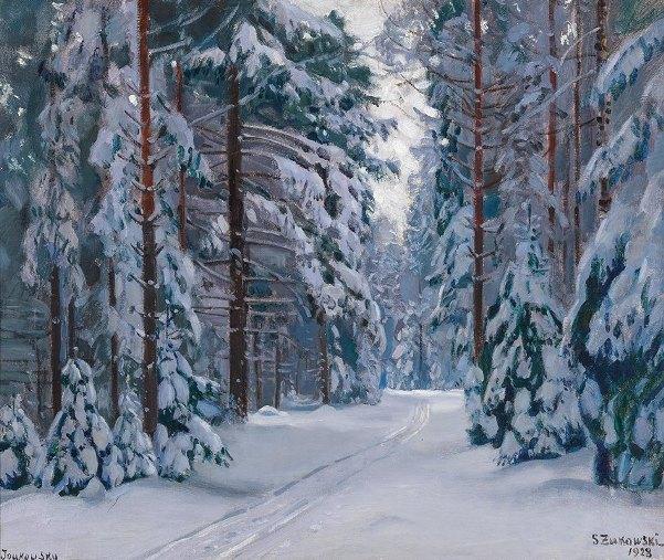 Заснеженная тропа в лесу, 1928. Станислав Юлианович Жуковский