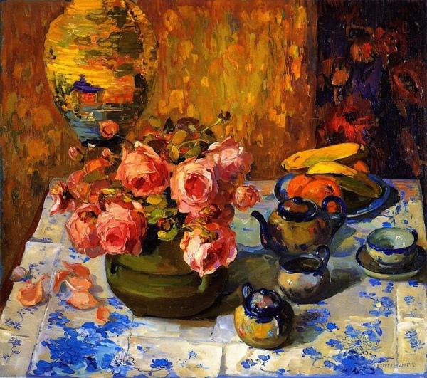 Розы на чайном столе. Франц Альберт Бишофф
