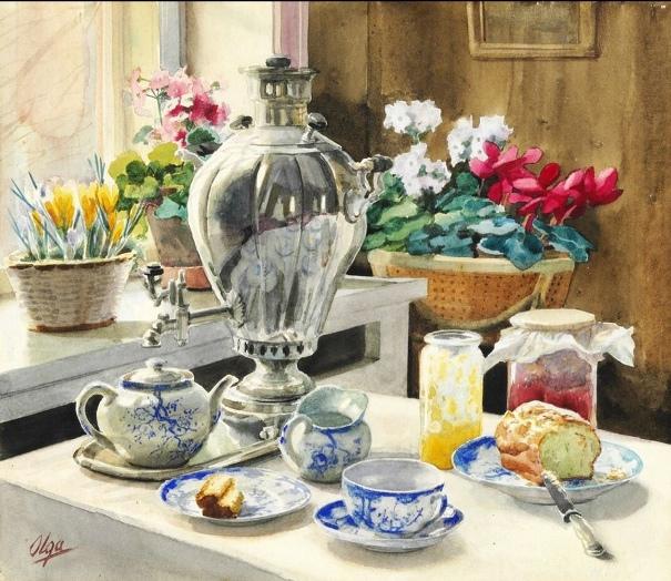 Русский чайный столик, акварель. Ольга Александровна Романова (1882-1960)